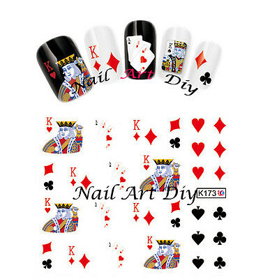 Nail Art water transfer Stickers-Decals-POKER-CASINO'-adesivo unghie-Buy 3 Get 4