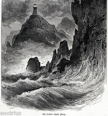 Corbiere Lighthouse. Bailiwick of Jersey. Channel Islands. Stampa Antica. 1878