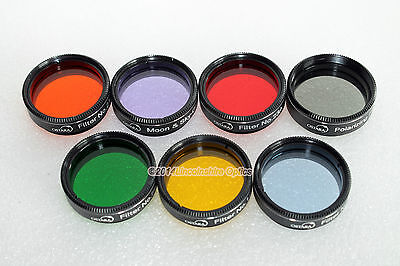 "Ostara 1.25"" 7 piece filter set for telescope eyepiece. For Moon, Planets, DSOs"