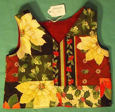 Reversible Christmas Floral & Red Vest Child Sizes 1&2 or My Size Barbie MYVHX17