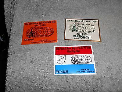 MIAMI VALLEY STEAM THRESHERES ASSN.N METAL  SHOW BADGES SET OF 3