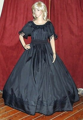 CIVIL WAR FRONTIER SOUTHERN BELLE VICTORIAN Black Mourning Costume Dress Gown