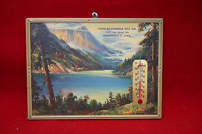 Vintage Pioneer Fanning Mill Co Framed Picture With Thermometer