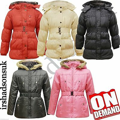 New Girls Padded Fur Hooded Light Weight Coat Jacket With Belt Size 7-13 Years