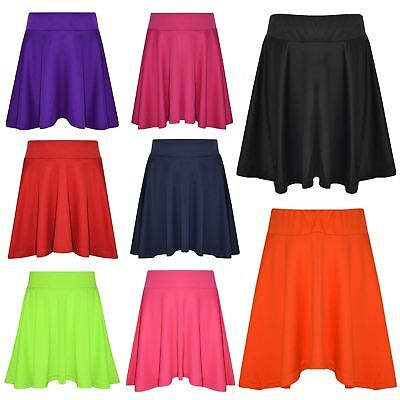 New Girls Skater Skirts School Fashion Summer Plain Skirts New Age 5-13 Years