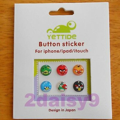 6 x NEW ANGRY BIRDS Home Button Sticker for iPhone 3G/3GS/4/4S/5 iPad iPod Touch
