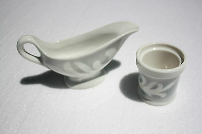 Vintage Syracuse China Gravy Boat and Toothpick Holder Gray and White