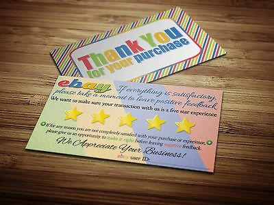 150 THANK YOU ebay Seller BUSINESS CARDS Colorful 5 FIVE STAR Feedback Fun NEW