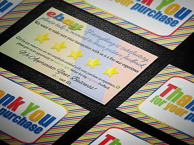 250 Colorful THANK YOU ebay Seller Business Cards 5 FIVE STAR Feedback Fun NEW