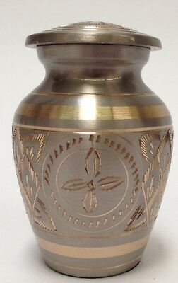 Brass And Platinum With Gold Highlight Keepsake Cremation Urn With Velvet Case