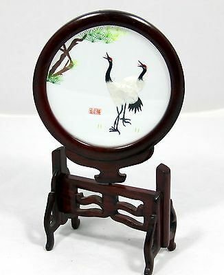"""Chinese Double Sided Embroidery  """"Cranes""""  Hand Carved Round Wooden Stand"""