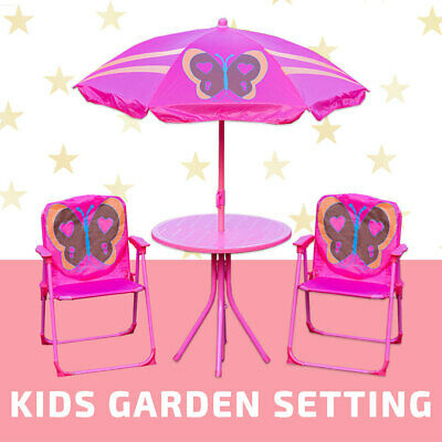 Kids Garden Setting 4pcs Butterfly w/ Umbrella Table Chair Children Park Outdoor