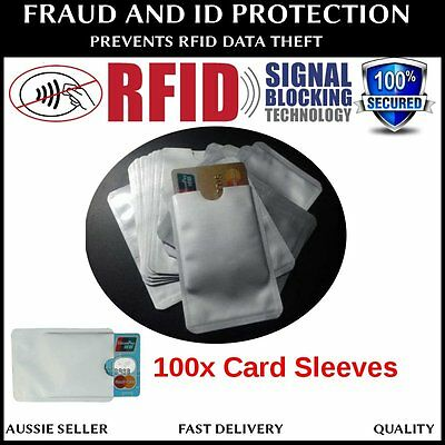 100 x RFID BLOCKING CREDIT CARD IDENTITY THEFT PROTECTOR ANTI SCAN SAFE SLEEVE