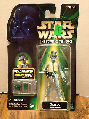 STAR WARS POWER OF THE FORCE POTF GREEDO COMM TECH. NEW, UNOPENED.