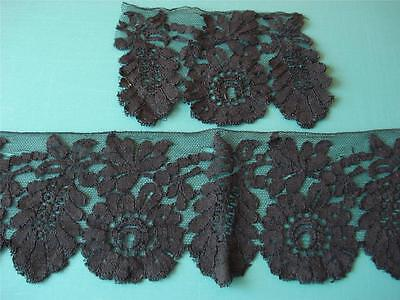 Antique Victorian Edwardian Black Silk Chantilly Lace Trim - Projects - #17