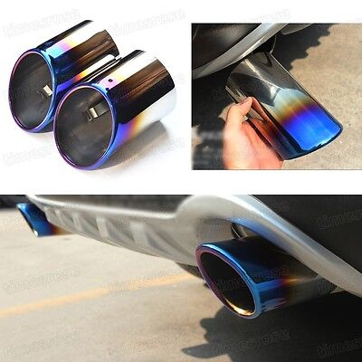 2x Titanium Blue Tailpipe Exhaust Muffler Tail Pipe Tip for Ford Kuga 2013 2014