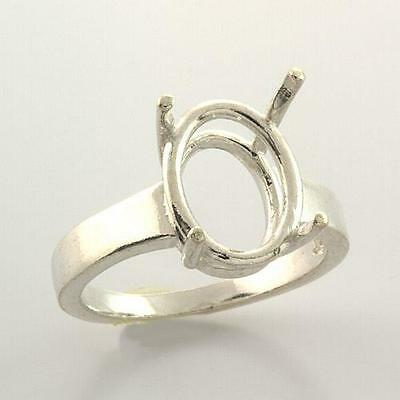 (10x8mm - 14x10mm) Oval Wide Band Sterling .925 Ring Setting (Ring Size 7)