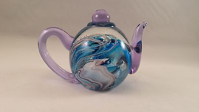 Vintage Dynasty Gallery Heirloom Collectible Glass Teapot Paperweight BLUE SWIRL