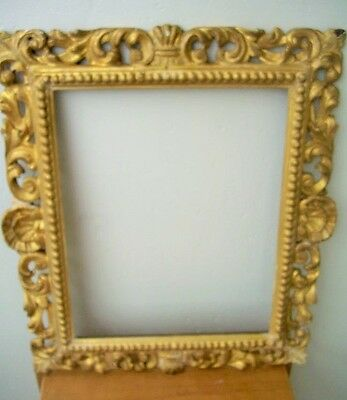 "SCALLOPED 18 - 19th CENTURY HAND CARVED GILDED (24K)  FRAME 20 X 24"" OUTER EDGE"