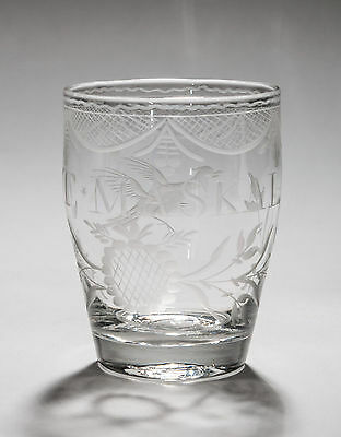 A Georgian Named & Etched Glass Tumbler - Antique c1780