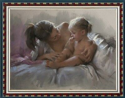 "Original women Oil painting female art Mother and child on canvas 30""X40"""