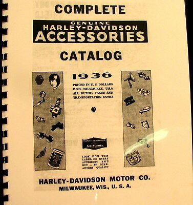 1936 Complete Catalogue Harley-Davidson Accessories Photos & Pricing