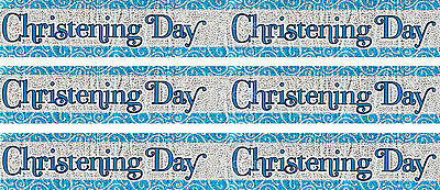 Christening Day Boy Banners Blue/ Silver Foil (Bgc)