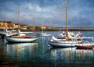 Oil painting seascape sail boats in harbor in sunset landscape free shipping art