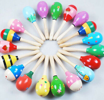 10pcs Wooden Maraca Wood Rattles Kid Musical Favor Child Baby Shaker Toy Beach