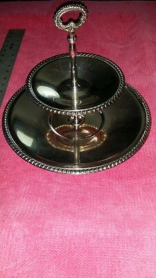 VINTAGE Wm. ROGERS SILVERPLATE TWO TIERED SERVING TRAY #841