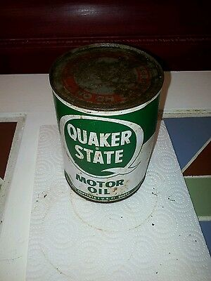 Old Vintage Quaker State 1 Qt motor Oil tin can, full unopened