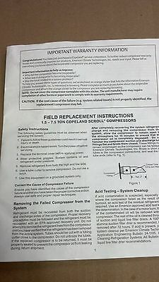 """COPELAND, SCROLL COMPRESSOR, Field Replacement Instructions, 8-1/2"""" x 11"""":"""