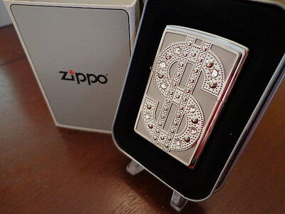 Bling Dollar Sign Swarovski Crystals Zippo Lighter Mint In Box