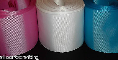 "3"" 75mm wide Grosgrain Ribbon 1 metre Choice of 15 Colours"