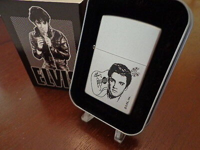 Elvis Presley Face & Guitar Satin Chrome Zippo Lighter Mint In Box