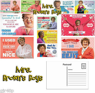Mrs Browns Boys Postcards Hilarious quotes TV Show Brendon O'Carroll Mrs Brown