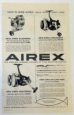 airex spinning tackle mag ad from 1958 fishing annual approx 9 1/2in  x 13 1/2