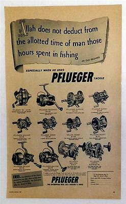 pflueger tackle reels mag ad from 1958 fishing annual approx 9 1/2in  x 13 1/2