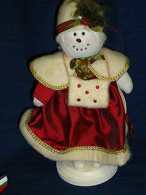 BRIAR ROSE Snowman/woman Doll Figurine on wood base by Heather Myers Christmas