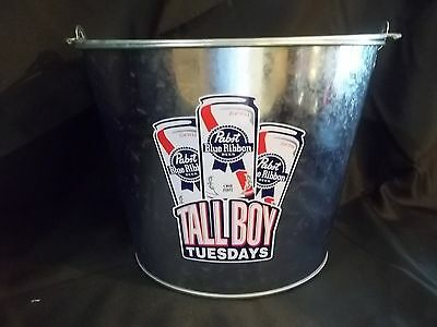 Nos New Pabst Blue Ribbon Beer Pbr Tallboy Tuesdays Metal Ice Bucket/Pail