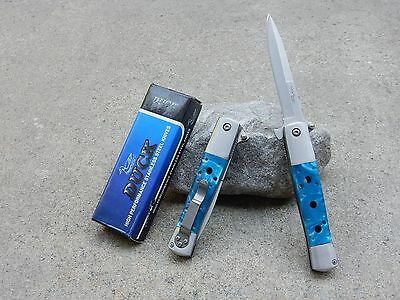 """8.75"""" Duck Blue Pearl Italian Style Stiletto Blade Spring Assisted Pocket Knife"""
