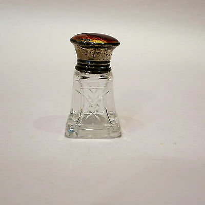 Antique Crystal Smelling Salts Bottle With Sterling Silver Lid