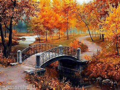Set of 4 Autumn Fall Scenic Scenery Stationery Notecard Notecards / Envelopes #2
