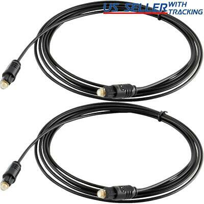 (2-pack) 10 FT Digital Fiber Optic Audio Cable Cord Optical SPDIF TosLink