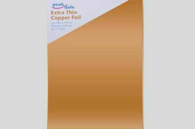 Peak Dale Extra Thin 100% Copper 0.05mm Foil. 300mm x 170mm. 3 Sheets. COPXTHIN