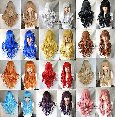 12 Colors women girls Long Curly Cosplay Party Wavy Wig 80cm+Earrings gift