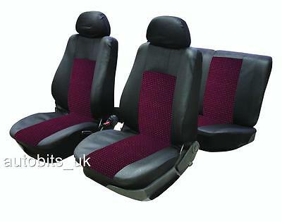 6Pcs Universal Red & Black Full Car Seat Covers Set  &  Headrest Protectors