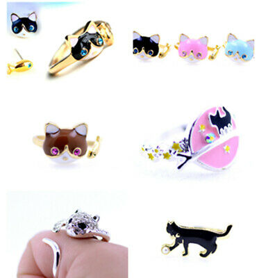 very lovely cat and fish earrings, brooch, ring, necklace, or set