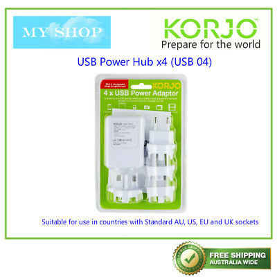 Korjo 4 USB World Travel Power Adaptor Charger Plug AU NZ UK EU US JAPAN