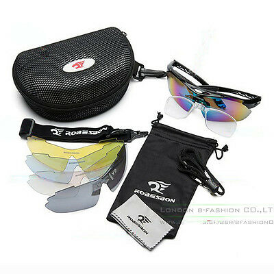 Men's Cycling Riding Bicycle Bike UV400 Sports Sun Glasses Eyewear Goggle 5 Lens